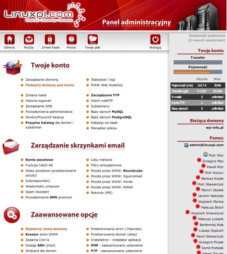 Linuxpl - Panel administracyjny