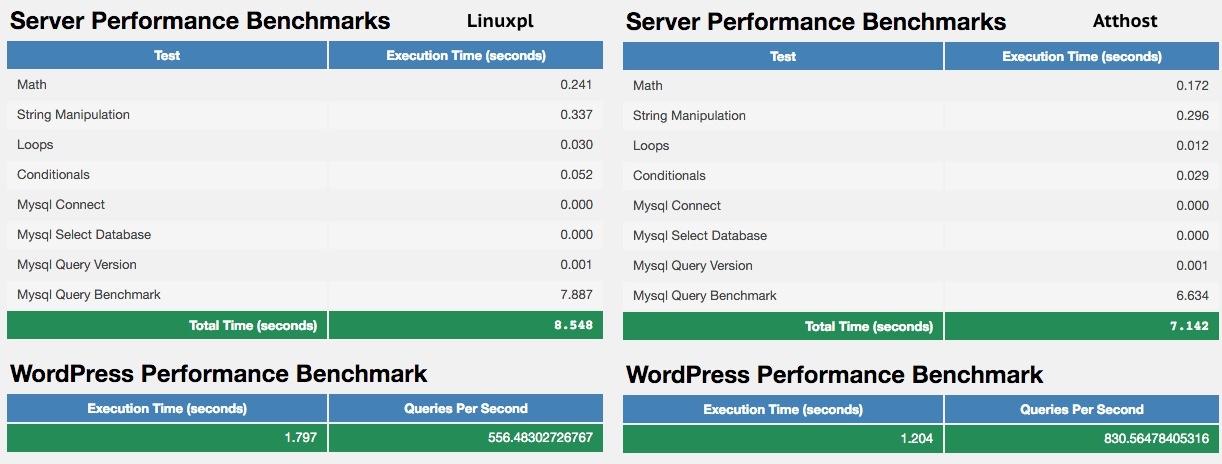 WP Performance Tester - Wyniki testu.
